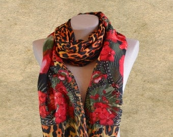 Leopard print scarf, Animal pattern scarf, Womens red scarf, Fashion accessories, Red flower scarf, Multicolored scarf, Spring scarf