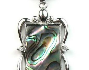 Abalone shell pendant, paua shell pendant, rectangular pendant necklace, abalone paua necklace, shell jewelry, beach gift, SH1465-AP