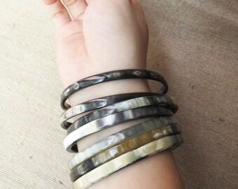 "Bangle Bracelet Set, Bracelet Set, Horn Bracelet, Bohemian Bracelet, Bangle Set, Horn Bangle, Bangle Bracelet, 2.55"" diameter"