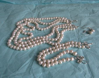 3 strand necklace, matching bracelet and earrings