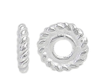 Sterling Silver, 5mm flat round spacer with 1mm hole. Pack of 10 Pieces.Approximate size: 5mm Diameter x 1mm Thickness.
