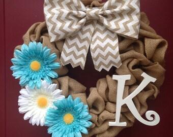 Burlap wreath - initial - daisies