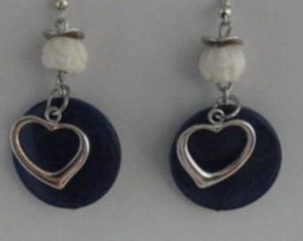 Blue tagua disc with Pearl os form lotus and heart pendant earring