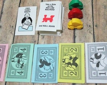 Monopoly Jr. Pieces-Vintage Monoply Jr.-Game Pieces-MonopolyReplacement parts-Crafting-Used Jr. Monopoly Game Pieces