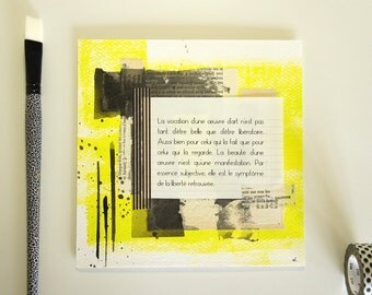 The vocation of a work of art... - text 19 * 19cm - work single table - Collages, ink and text of the artist