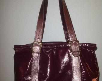 Handmade two-tone purple leather purse