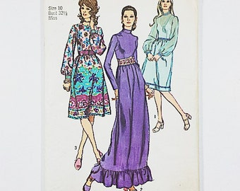 70s Hostess Dress Pattern   Simplicity 9447 Misses Party Dress Pattern   70s Sewing Pattern
