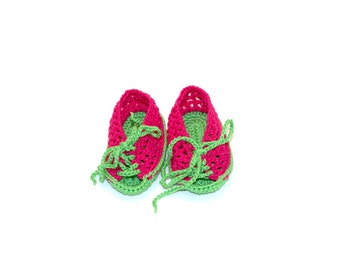 Crocheted baby booties red green