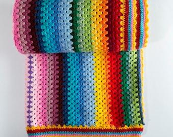Crochet blanket, Stripe blanket, Colorful blanket, Winter crochet blanket, Multi color blanket, Rainbow blanket
