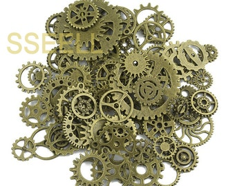 80X Vintage Bronze Watch Parts Steampunk Cyberpunnk Cogs Gears DIY Jewelry Craft Wholesale scrapbooking TH0002X80