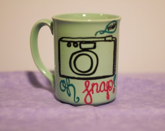 Oh Snap Camera Photography custom hand painted mug