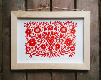 "Original Linocut print ""Folk motif"" Scandinavian folk art inspired, unframed wall poster, Limited edition, handmade by Alexandra Dvornikova"