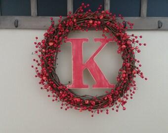 Red Berry Branch Monogram wreath