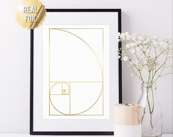 Fibonacci Sequence Art Print - in Real GOLD FOIL - Golden Ratio Fibonacci Spiral - Mathematics Office Decor - Math Teacher Gift
