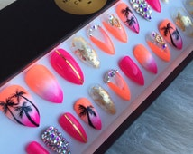 Summer Ombre Press On Nails | Pink Coral White | Swarovski Crystals | Handpainted Palm Trees Nail Art| Glue On Nails