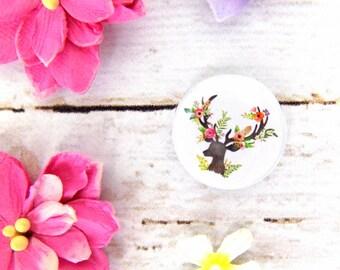 Beautiful Boho Floral Deer Button Badge