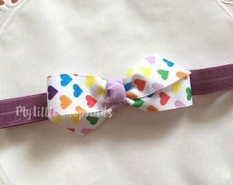 Rainbow Hearts Baby Headband