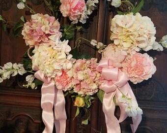 Silk floral Wreath on Grapevine