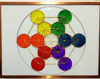 Copper Edged Portable Crystal Gemstone Grid Sacred Geometry Metatron's Cube