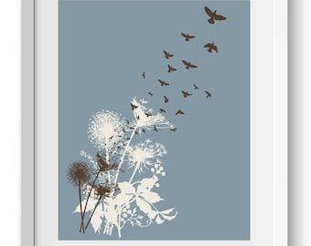Dandelions Art Print, Birds in Flight Art Print, Dandelion Seeds, Birds in Flight Art