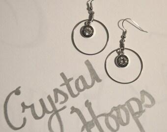 Crystal Hoop Dangle Silver Earrings