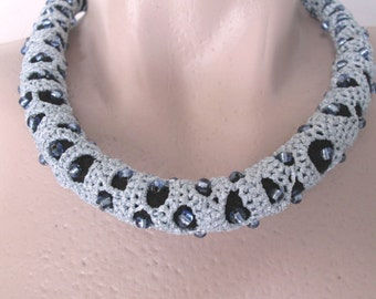 Crocheted necklace,Unique necklace,Elegant chocker, Formal accessory, Stylish crochet,handmade jewelry
