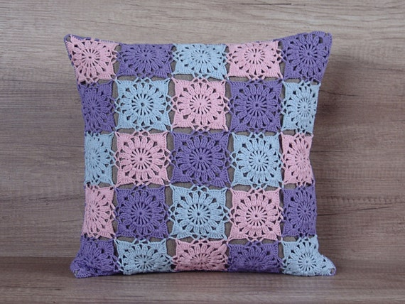 cool crochet granny square pillow colorful pastel pink blue. Black Bedroom Furniture Sets. Home Design Ideas