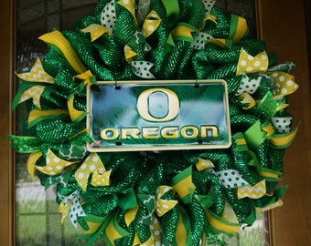 Oregon Wreath, Ducks Wreath, Oregon Ducks Door Decor, Oregon Door Hanger, University of Oregon Wreath, Graduation Gift