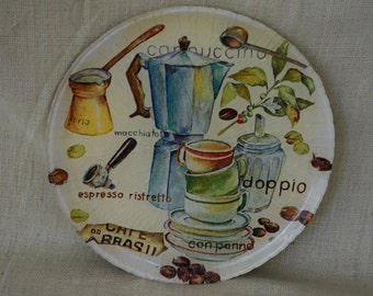 Decorative plate - decoupage plate - serving plate - glass plate - coffe plate