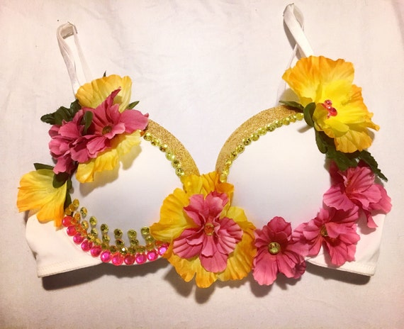 Pink & Gold Tropical Island Flower Rave Bra