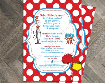 Printable Dr. Seuss Baby Shower Invitation • Cat In The Hat The Places You'll Go Gender Neutral  • Digital Printable • SARKA DESIGN THEORY