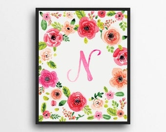 Monogram Letter N Print | Floral Wreath Monogram | Initial Print | Watercolor Floral Print | Digital Download