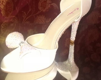 Ivory Wedding Shoes Encrusted With Ivory Ab Crystals.