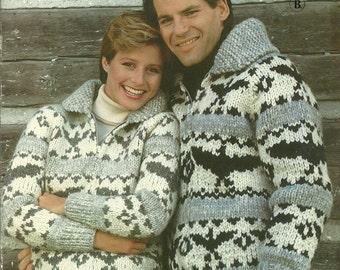 Knitting Pattern, Cowichan Siwash Sweater Jacket Pullover by White Buffalo 6119