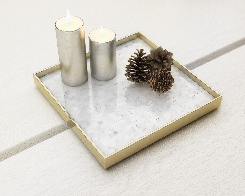Carrara Mosaic Tray Marble And Brass Tray Decorative Square