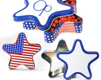 24 Patriotic Flag Star Shaped Tin - Empty
