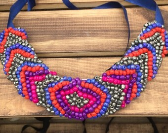 Free shipping beaded bib necklaces neon colorful