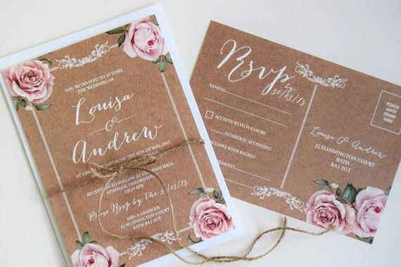 Rustic Wedding Invitation and Rsvp Postcard Set