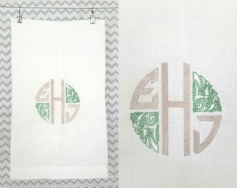 Towel with Initials of Bride and Groom/Wife and Husband