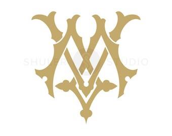Digital Wedding Monogram - MV VM - Wedding Monogram - Vintage