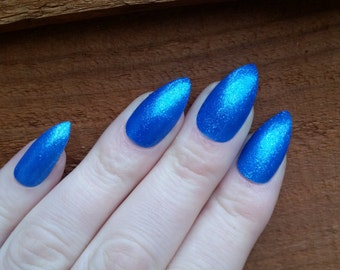 Blue Glitter False Nails