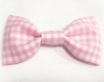 Fabric Bow Pink and White Gingham Infant Bow Handsewn Headband Girl's Bow