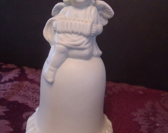 white Pottery Bell with Angel on top, (# 441/15)