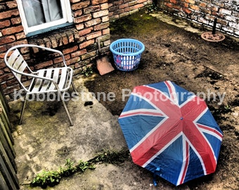 British backyard scene, backyard photography, Old courtyard print, Red brick building photography