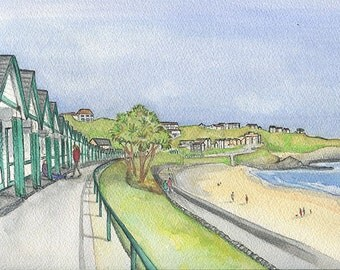 Giclee Print of an Original Watercolour Painting of Langland Bay