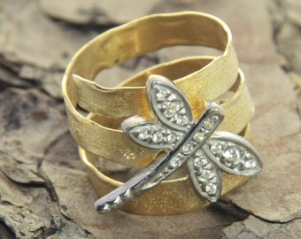 Melted Dragonfly Ring Silver 925