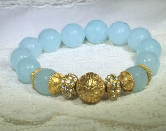 Faceted Aqua Marine Bead Bracelet