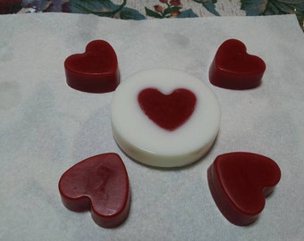 Round, Rose Scented Glycerine Soap with Heart