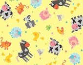 Farm Animals on Yellow from the Funny Farm Collection by Diane Eichler for Studio E Fabrics