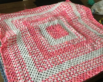 Baby Granny Square Blanket - pink and white